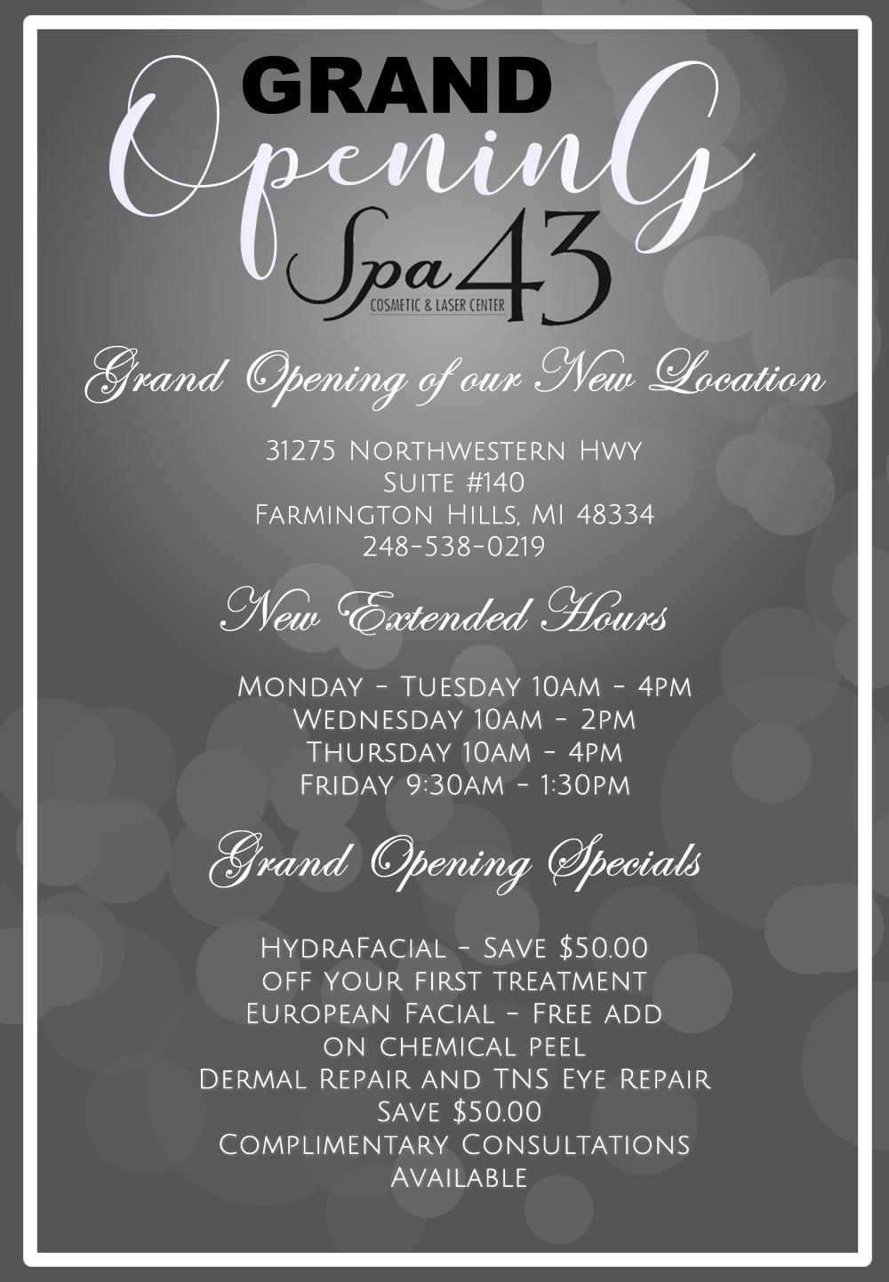 Specials and Events at Spa 43 Clinton Township, MI